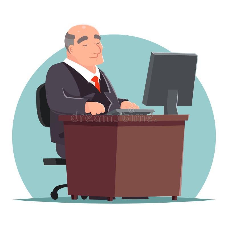 Old Adult Businessman Work Computer Table Character Icon Retro Cartoon. Old Adult Businessman Work Computer Table Character Icon Cartoon Design Vector royalty free illustration