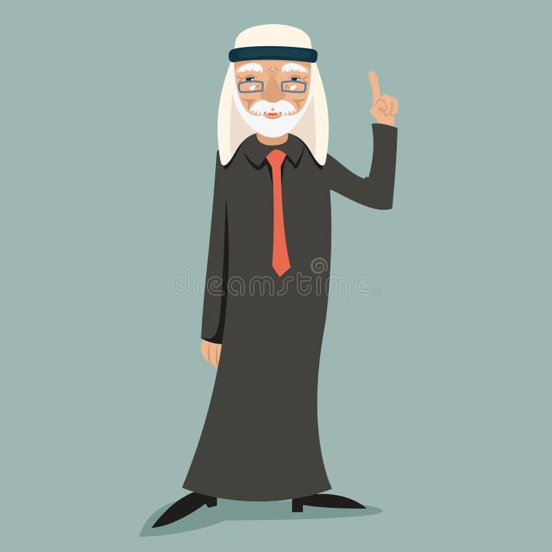 Old Adult Wise Vintage Arab Smiling Happy Businessman Character Icon on Stylish Background Retro Cartoon Design Vector. Old Adult Wise Vintage Arab Smiling Happy royalty free illustration