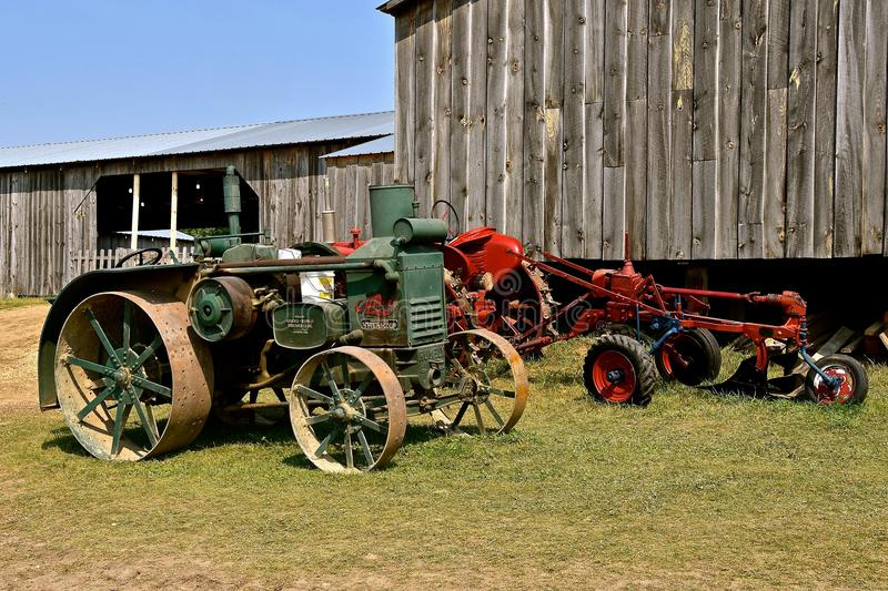Old Advance Rumely tractor. ROLLAG, MINNESOTA, Sept 2, 2017: An Advance Rumely Oil Pull old tractor is displayed at the annual WCSTR farm show in Rollag held royalty free stock photos