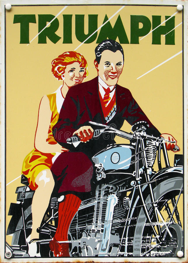 Old advert - triumph. Very old advert of triumph bike stock photography