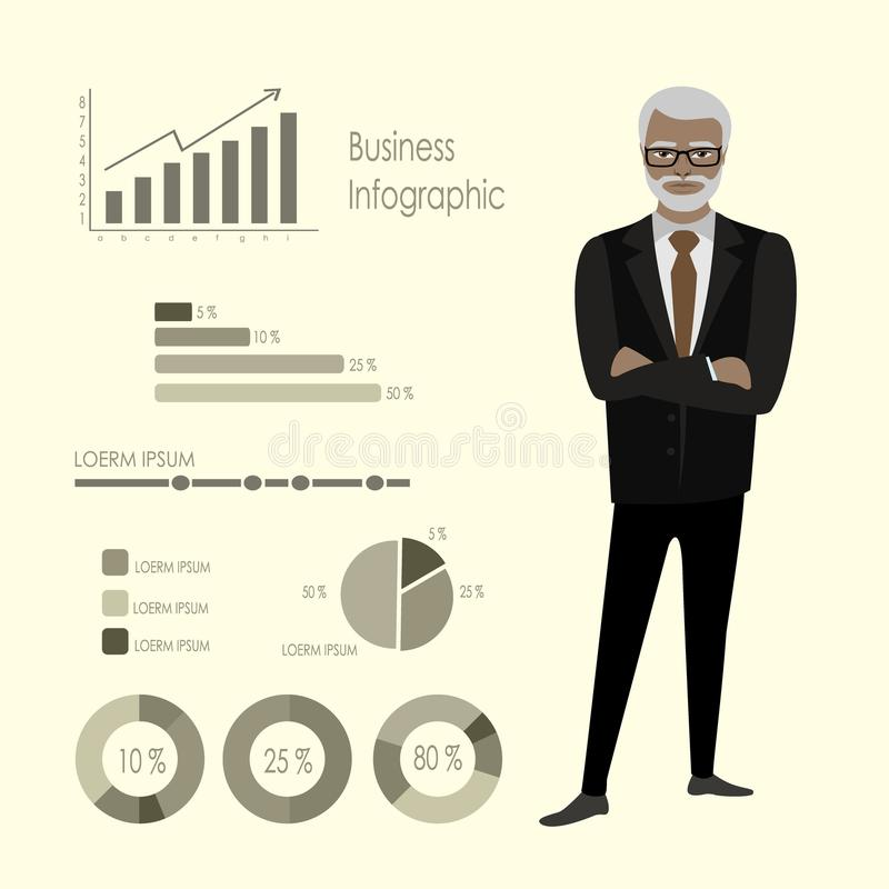 Old african american businessman and infographics template. Stock vector illustration stock illustration