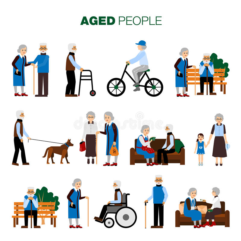 Old Age People Set royalty free illustration