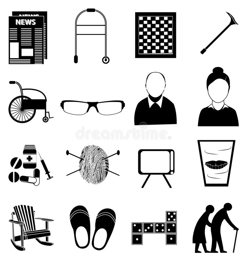 Old age retired people icons set. Set in black royalty free illustration
