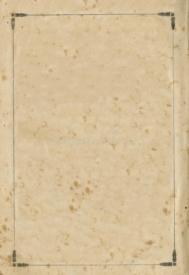 Old aged grungy book paper sheet page vignette, isolated frame background copy space. Old aged grungy vintage book vignette, isolated paper sheet page black royalty free stock images