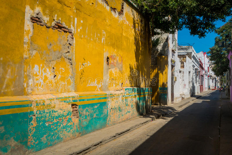 Old aged houses, Santa Marta, caribbean city in. Old and damaged houses in Santa Marta, popular caribbean destination in northern Colombia stock image