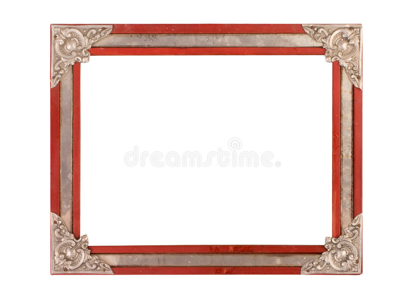 Old and aged photo frame. Isolated on a white background royalty free stock image