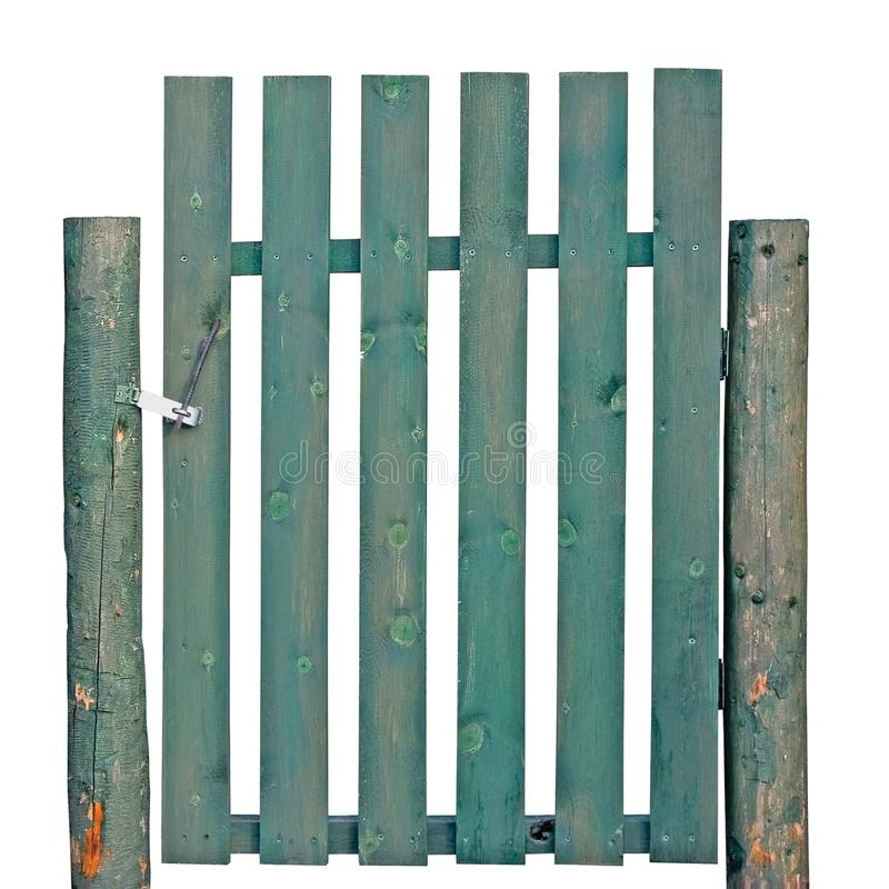 Old aged weathered green painted wooden gate, isolated rural garden fence entrance detail, large detailed abandoned countryside stock photography