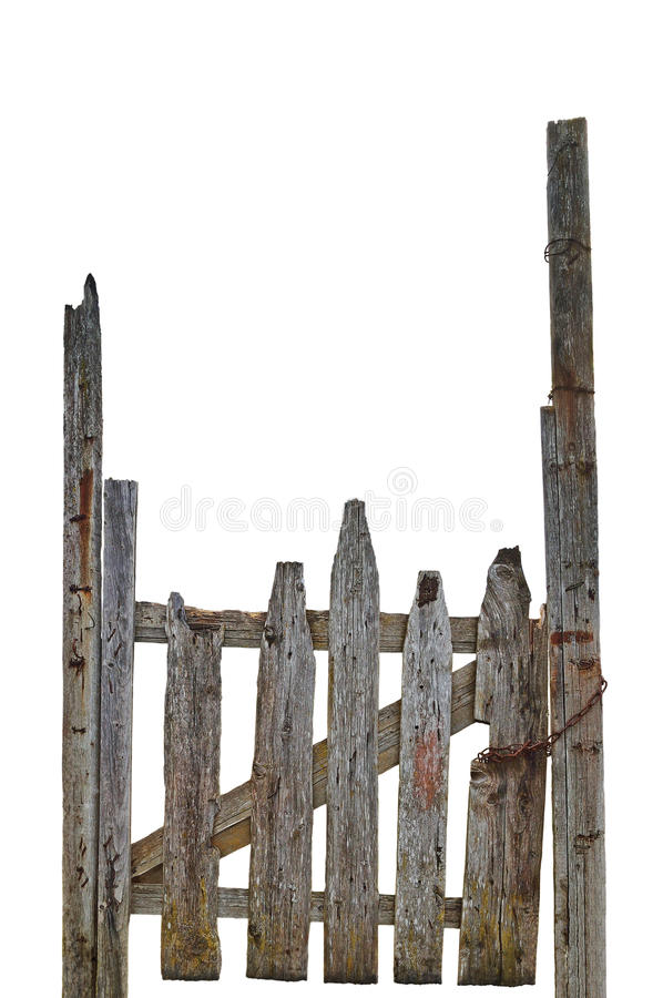 Free Old Aged Weathered Rural Ruined Grey Wooden Gate, Isolated Gray Wood Garden Fence Entrance Gateway Large Detailed Vertical Closeup Royalty Free Stock Images - 78294669