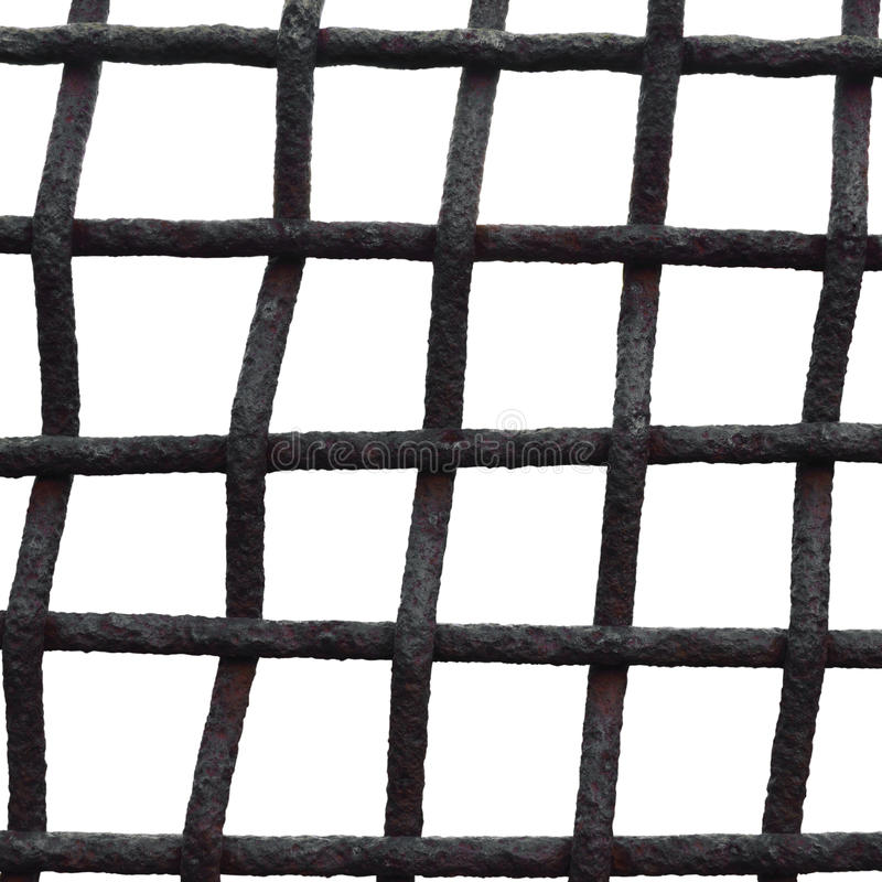 Free Old Aged Weathered Rusty Grid Cage Fence Iron Grating, Isolated Grungy Large Detailed Macro Closeup, Grunge Rust Metal Bars Mesh Royalty Free Stock Images - 87826719