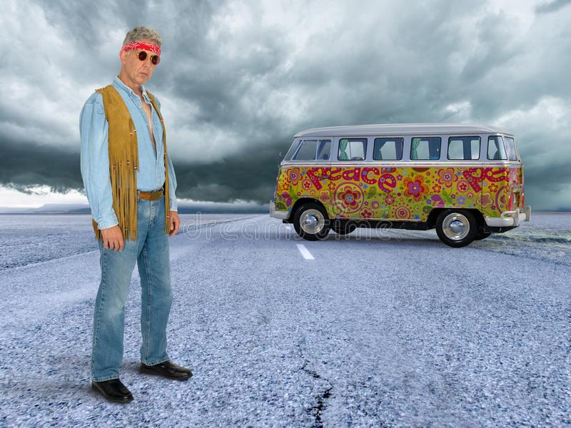 Old Aging Hippie, Peace, Love Child. Old aging hippie and a love child. The hipster stands on a desolate road or highway with retro vintage VW Volkswagen van bus stock photo