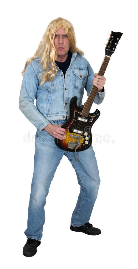Old Aging Rock and Roll Star, Musician, Music Man. An old, aging rock and roll star struts his stuff with his electric guitar. The man still has long, blond hair stock images