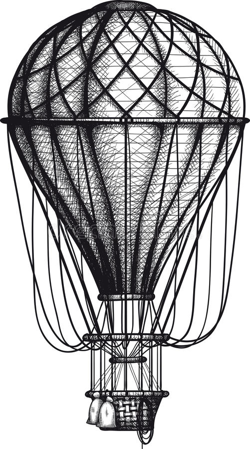 Old Air Ballon. Vintage Air Balloon drawn as engraving isolated on white background vector illustration