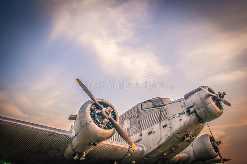 An old air craft in the front of museum. Old world war ii plane sits at the courtyard of Air force museum next to Belgrade airport Serbia royalty free stock photos