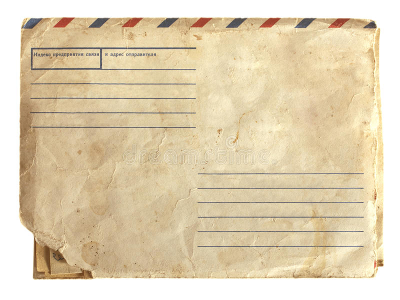 Old air envelope with stamp. Photo old air envelope with stamp stock photos