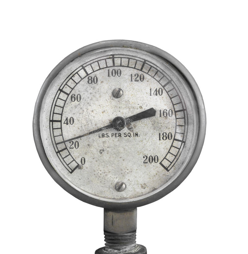 Old air pressure gauge isolated. Old and worn round dial air pressure gauge. Isolated on white royalty free stock images