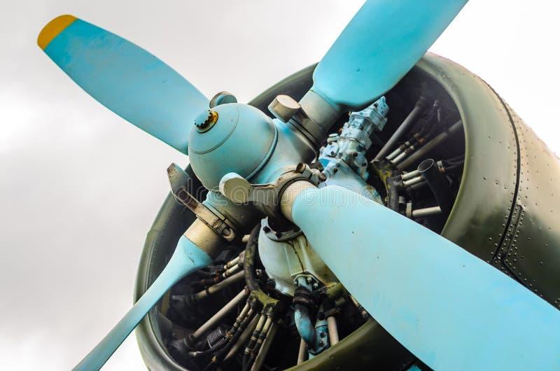 Old aircraft close up stock photo
