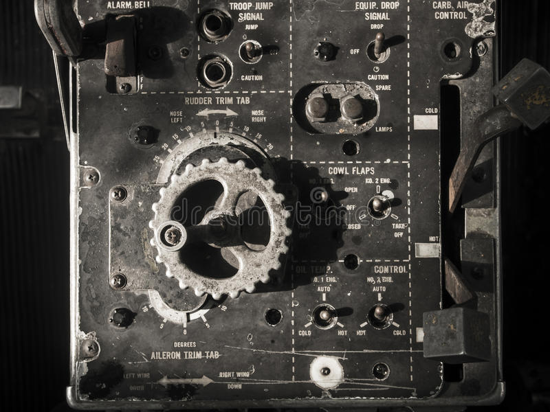 Old Aircraft instruments panel stock photography
