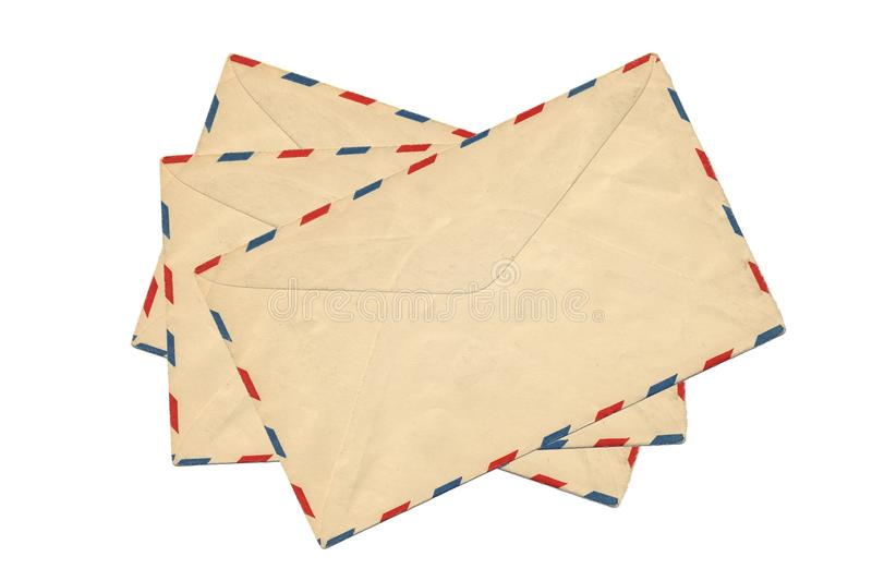 Old airmail envelope. Isolate on white background royalty free stock photos