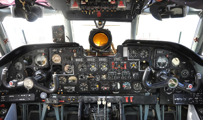 Old airplane cockpit. Russian plane stock image