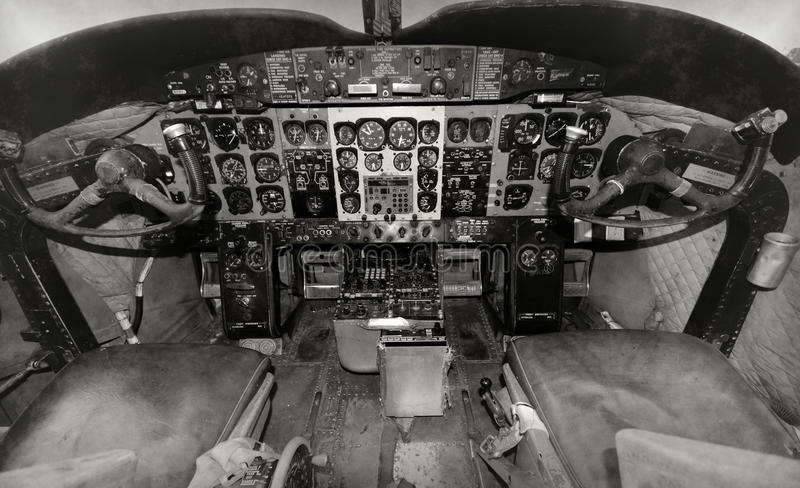Old airplane cockpit stock photography