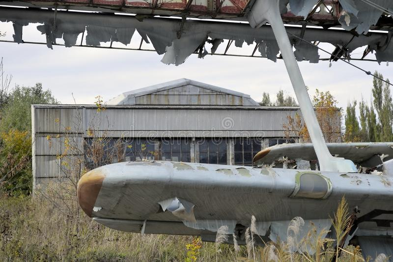 Old airplane history USSR An2 Antonov. Abandoned airfield since the Soviet Union, Russia stock photos