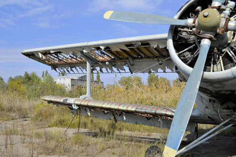 Old airplane history USSR An2 Antonov. Abandoned airfield since the Soviet Union, Russia stock photo