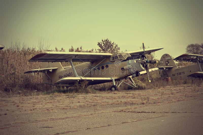 Old airplane history USSR An2 Antonov. Abandoned airfield since the Soviet Union, Russia stock images