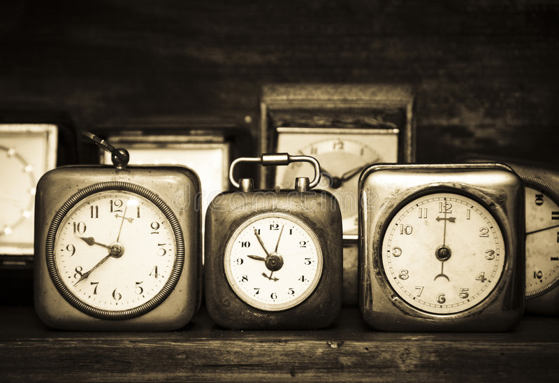 Old alarm clocks stock photography