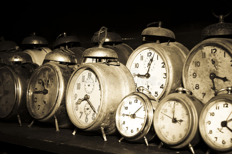 Old alarm clocks stock image