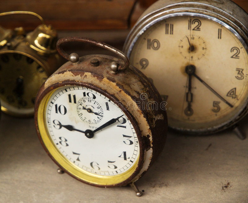 Old alarm clocks stock photo