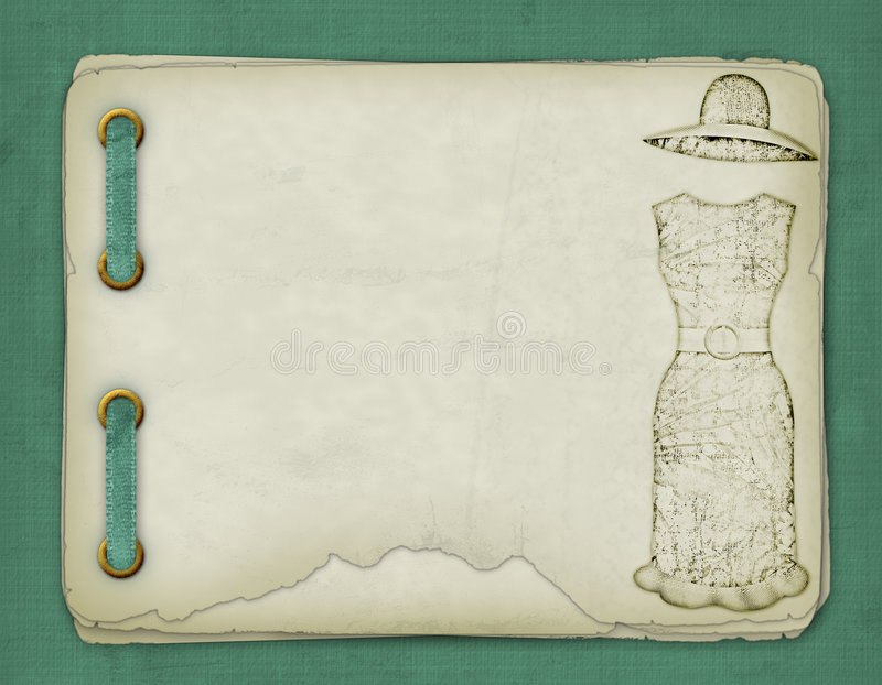 Old album with sketches of a dress stock illustration