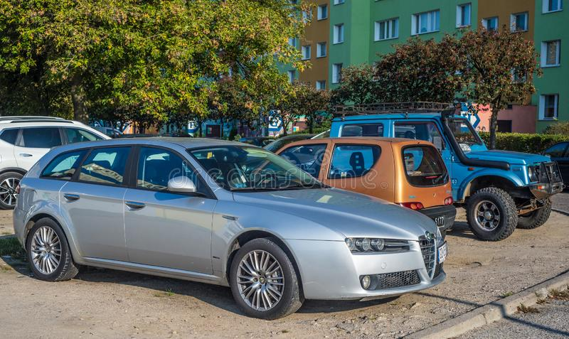 Old Alfa Romeo 156 car parked on a street royalty free stock photo