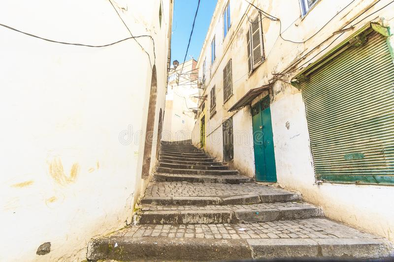 Old Algiers. A street in the old Algiers, the capital of Algeria royalty free stock images