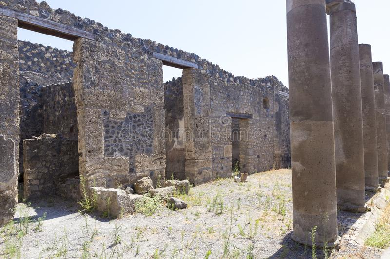 Old alley and houses from Pompeii city. Italy royalty free stock photo