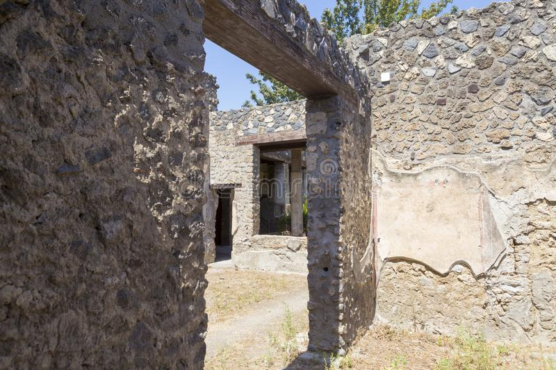 Old alley and houses from Pompeii city. Italy stock photo
