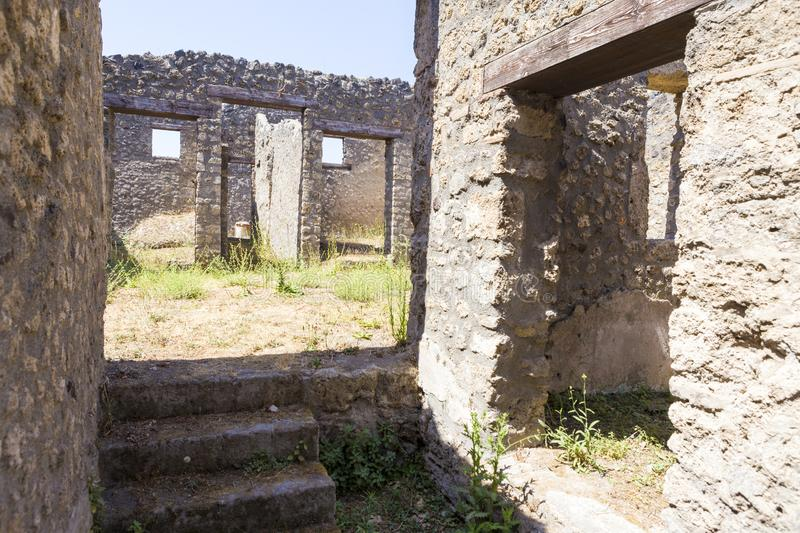 Old alley and houses from Pompeii city. Italy stock photography