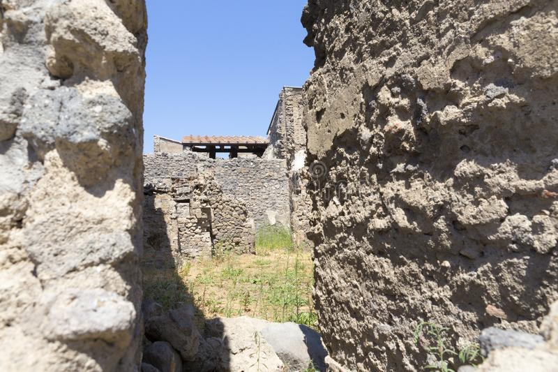 Old alley and houses from Pompeii city. Italy royalty free stock photos