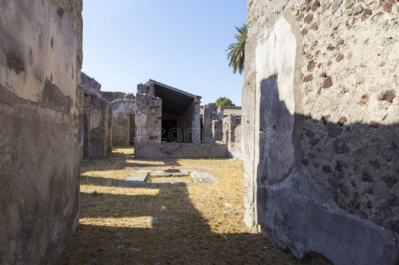 Old alley and houses from Pompeii city. Italy stock photos