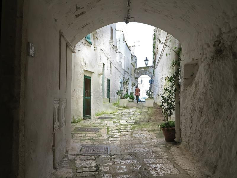 alleys in the historic center of Ostuni, Puglia, Italy royalty free stock photos
