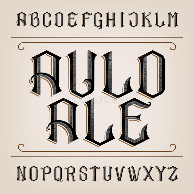 Old alphabet vector font. Distressed hand drawn letters. royalty free illustration