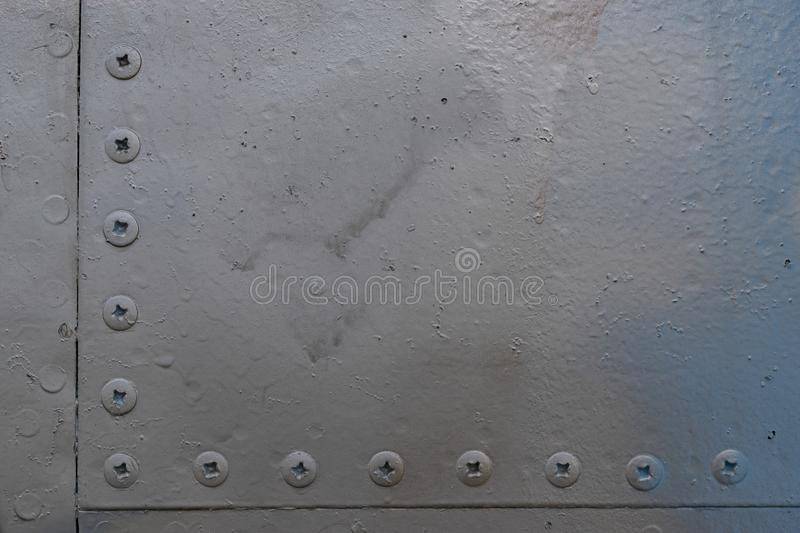 Old aluminum background detail of a military aircraft. Old aluminum background detail of a military aircraft, surface corrosion royalty free stock photo