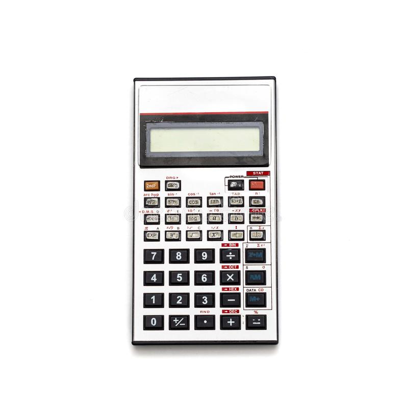 Old aluminum calculator Isolate. stock images