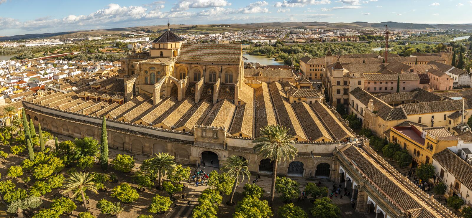 Old amazing Moorish Mosque Cathedral from above in Cordoba, Spain royalty free stock photo
