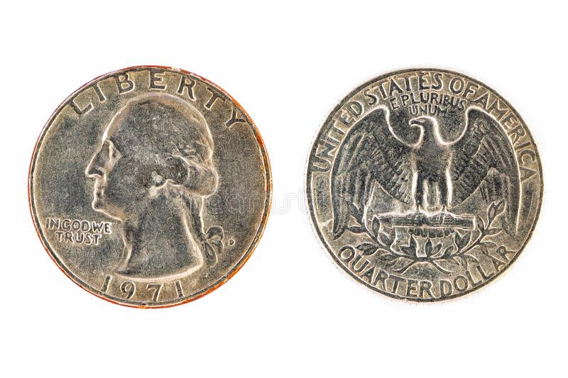 Old America quarter dollar coins through the use of trading for stock images