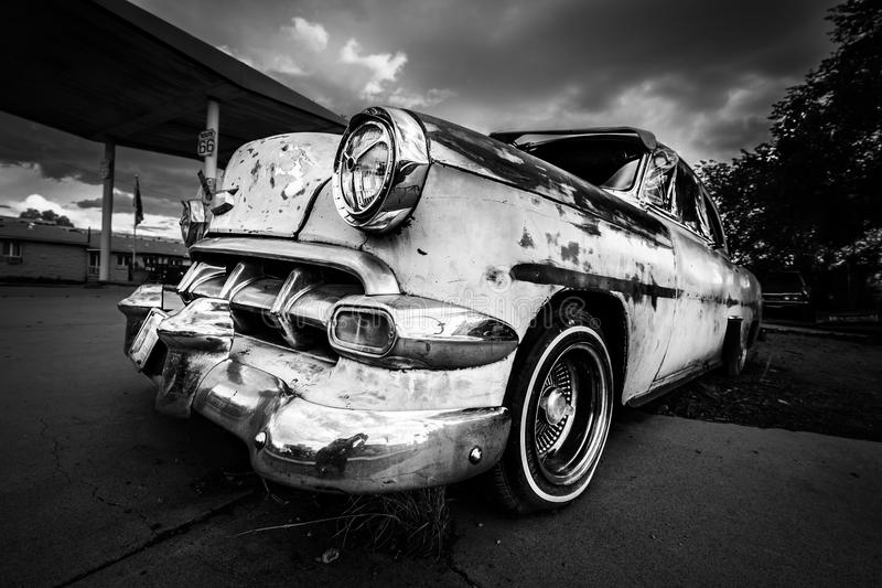 Old american car. Black and white image royalty free stock photography
