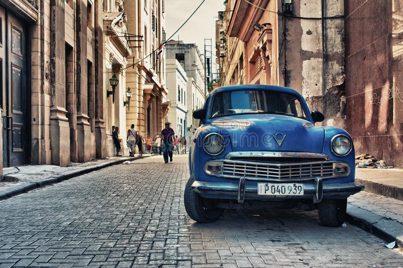 Old american car parked in a street stock photo