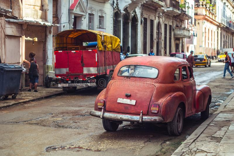 Old american car on street of Havana royalty free stock photos