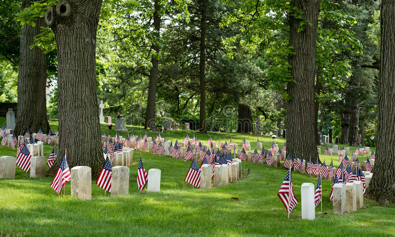 Old American Civil War Cemetery Area with Flags royalty free stock photos
