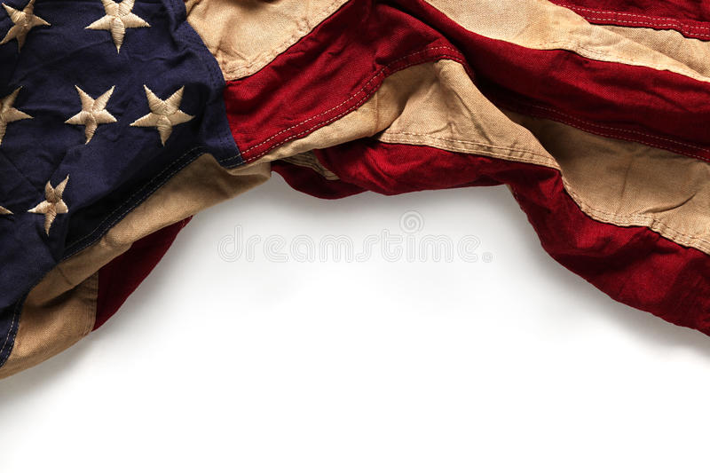 Old American flag background. For Memorial Day or 4th of July stock photo