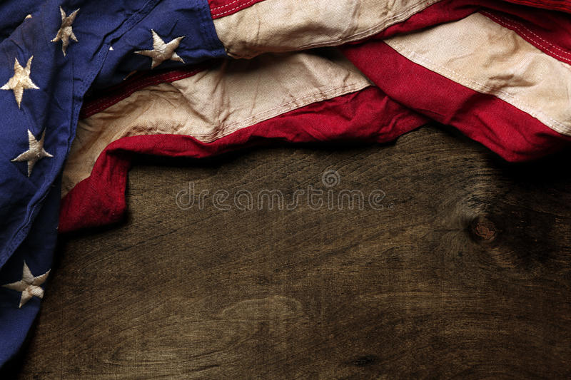Old American flag background. For Memorial Day or 4th of July stock photos